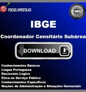 Apostila IBGE Coordenador Censitário Subárea css pdf download edital concurso